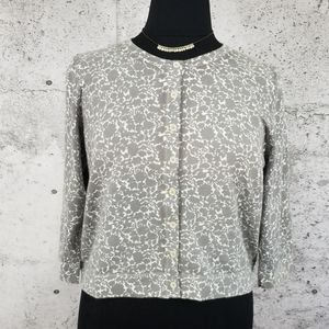 BODEN Grey Abstract Floral Cardigan US 18
